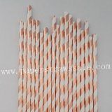 Foil Rose Gold Striped Paper Straws 500pcs