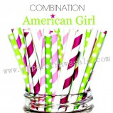 200pcs AMERICAN GIRL Paper Straws Mixed