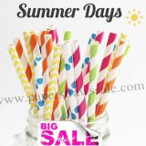 250pcs Summer Days Themed Paper Straws Mixed