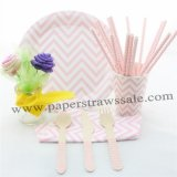 168 pieces/lot Pink Chevron Party Tableware Set