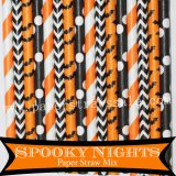 200pcs Halloween Spooky Nights Paper Straws Mixed