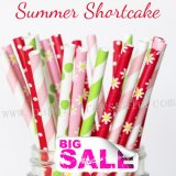 300pcs SUMMER SHORTCAKE Themed Paper Straws Mixed
