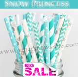 250pcs SNOW PRINCESS Themed Paper Straws Mixed