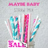 200pcs Maybe Baby Themed Paper Straws Mixed
