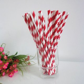 Paper Drinking Straws with Red Stripe 500pcs