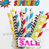 250pcs SUPERHERO Party Paper Straws Mixed