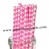 Paper Straws with Hot Pink Harlequin Diamond 500pcs