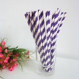 Paper Straws with Royal Purple Striped 500pcs