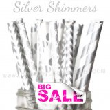 200pcs SILVER SHIMMERS Paper Straws Mixed