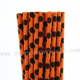 Black Polka Dot Orange Paper Straws 500pcs