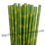 Green Paper Straws with Daisy Flower 500pcs
