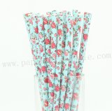 English Roses Teal Floral Paper Straws 500pcs
