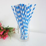 Paper Straws Printed with Dodger Blue Stripe 500pcs