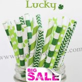 250pcs LUCKY Green Paper Straws Mixed