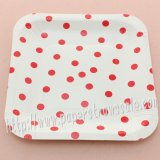 "7"" Red Polka Dot Square Paper Plates 60pcs"