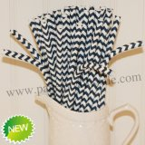 Navy Zig Zag Bendy Paper Straws 500pcs