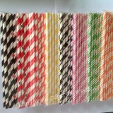 Letter Print Striped Paper Straws 1600pcs Mixed 8 Colors
