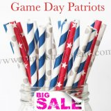 300pcs Game Day Patriots Paper Straws Mixed