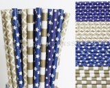 200pcs Navy Blue and Gold Paper Straws Mixed