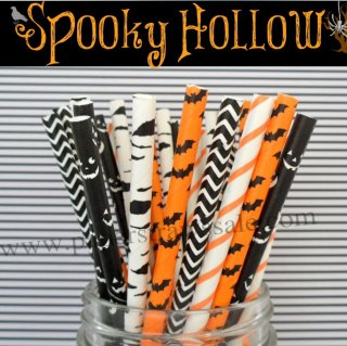 250pcs Spooky Hollow Halloween Mixed Paper Straws