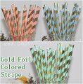 Gold Foil Striped Paper Straws 1500pcs Mixed 3 Colors