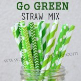 250pcs Lime and Green Paper Straws Mixed