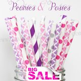 250pcs PEONIES & POSIES Themed Paper Straws Mixed