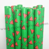 Red Triangle Christmas Green Paper Straws 500pcs