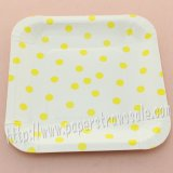 "7"" Yellow Polka Dot Square Paper Plates 60pcs"