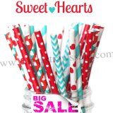 250pcs SWEET HEARTS Paper Straws Mixed