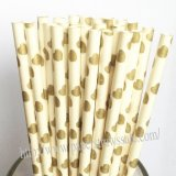 Gold Heart Printed Paper Drinking Straws 500pcs