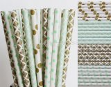 200pcs Mint and Gold Party Paper Straws Mixed