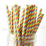 Colored Rainbow Striped Paper Straws 500pcs