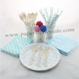 193 pieces/lot Party Tableware Kit Green Polka Dot
