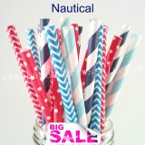 250pcs NAUTICAL Themed Party Paper Straws Mixed