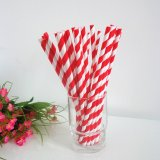 Red and White Striped Paper Straws Wholesale 500pcs