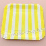 "7"" Yellow Striped Square Paper Plates 60pcs"