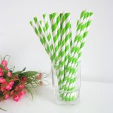 Light Green Striped Paper Straws Online 500pcs