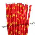 Daisy Print Red Paper Drinking Straws 500pcs