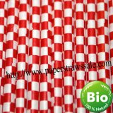 Checkered Paper Straws Red Print 500pcs