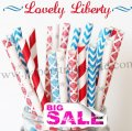 250pcs LOVELY LIBERTY Paper Straws Mixed