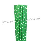 Swiss Dot Kelly Green Paper Straws 500pcs