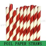 Red Foil Stripe Drinking Paper Straws 500pcs