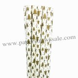 Gold Christmas Tree Paper Straws 500pcs