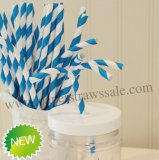 Bendy Paper Straws Royal Blue Stripe 500pcs
