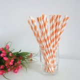 Orange Striped Paper Straws Wholesale 500pcs