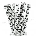 Black Cow Print Paper Drinking Straws 500pcs