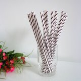 Dark Brown Thin Striped Paper Straws 500pcs