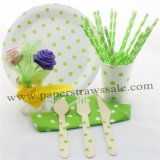 168 pieces/lot Green Polka Dot Party Tableware Set