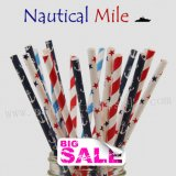 200pcs NAUTICAL MILE Themed Paper Straws Mixed